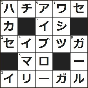 クロスワード 解答 (1)ばったり出くわす。飲み屋で課長と――して驚いたよ