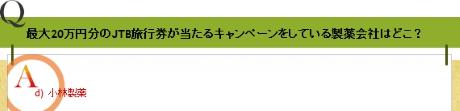 最大20万円分のJTB旅行券が当たるキャンペーンをしている製薬会社はどこ?