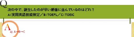 次の中で、誕生したのが早い順番に並んでいるのはどれ? A:実用英語技能検定/B:TOEFL/C:TOEIC